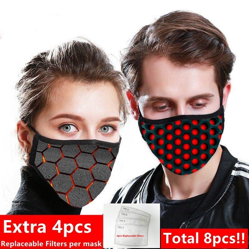 2pcs/lot Fashion Cotton Reusable Masks Unisex Women Pm2.5 Printed Cute Washable Face Mask Dustproof  Replacement 4pcs Filters
