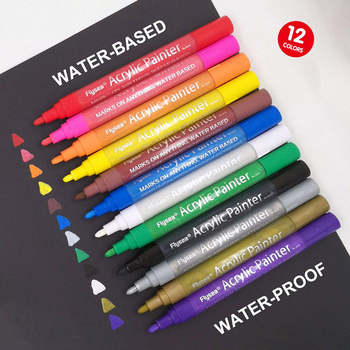 12 Colors/Set Acrylic Paint Marker pen for Ceramic Rock Glass Canvas Painting Odorless Needle Water-Based Paint Pen 2 mm Line 6mm acrylic paint marker pens permanent non toxic acid free quick dry water based paint pen