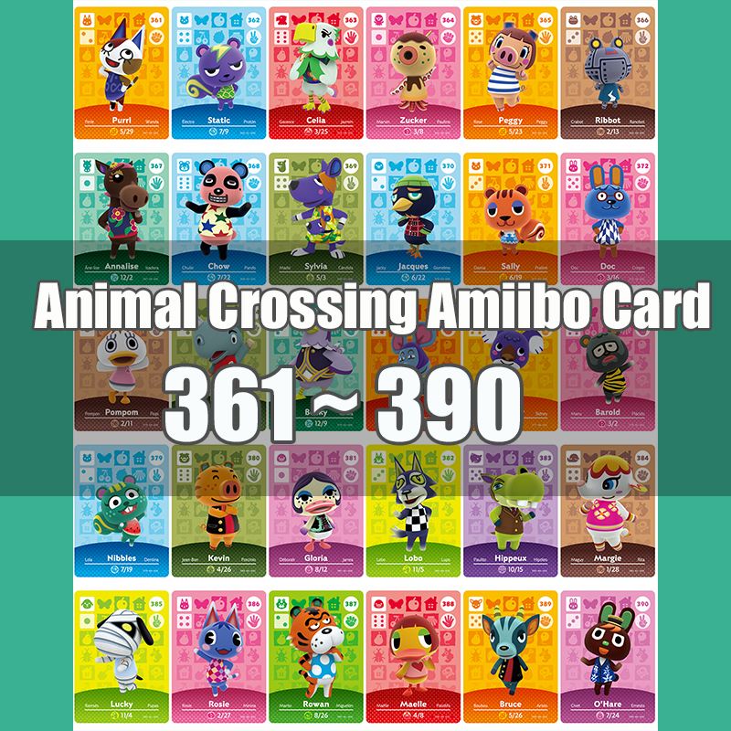 Animal Crossing Amiibo Card Animal Crossing New Horizons Game NFC Lobo Card Work For NS 3DS Game Switch Series 4 (361-390)