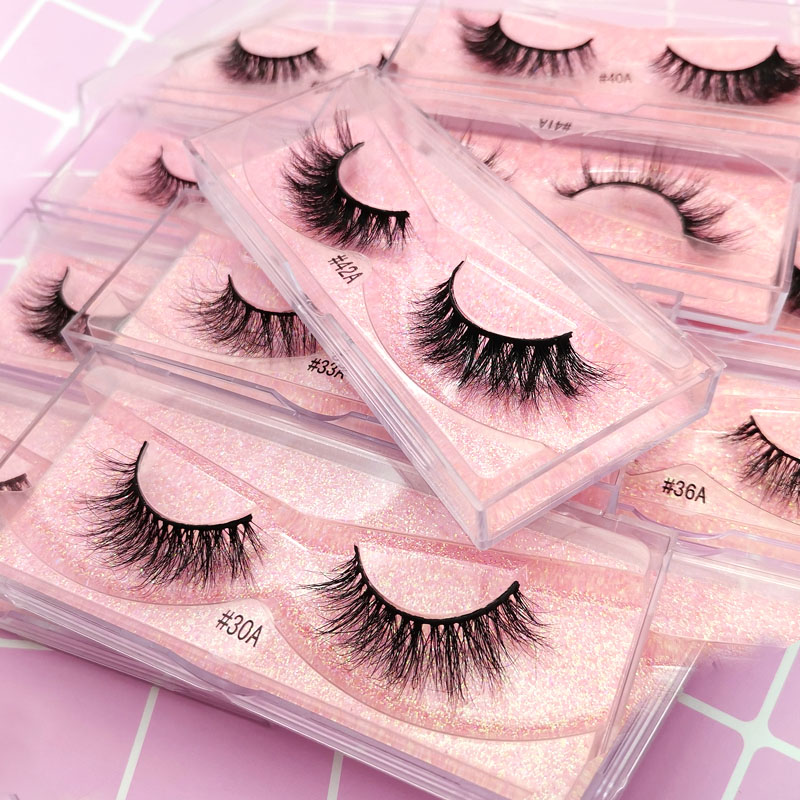 1 Pair 3D Mink Lashes Natural Hair Long Lashes Winged Eyelashes Dramatic Lashes Thick Mink False EyeLashes Makeup Fluffy Lashes