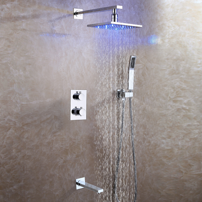 DULABRAHE Bathroom Shower Faucet Set Concealed Thermostatic Bath Shower Mixer System 8 Inch Brass LED Rain Shower Head 1
