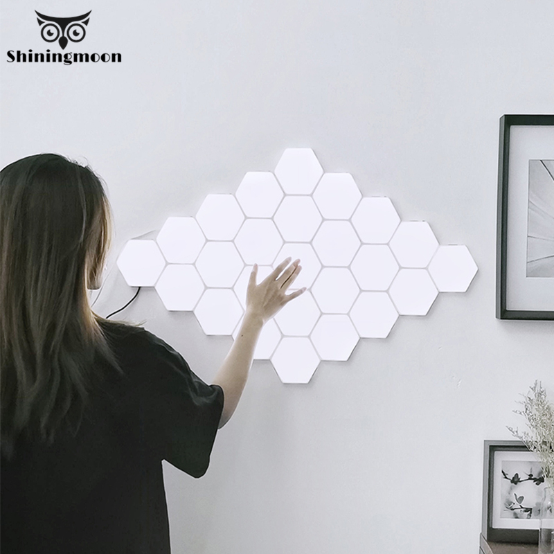 Creative Led Wall Light Modern Honeycomb Modular Assembly Helios Touch Wall Lamp Quantum Lamp Magnetic Wall Lights for Home