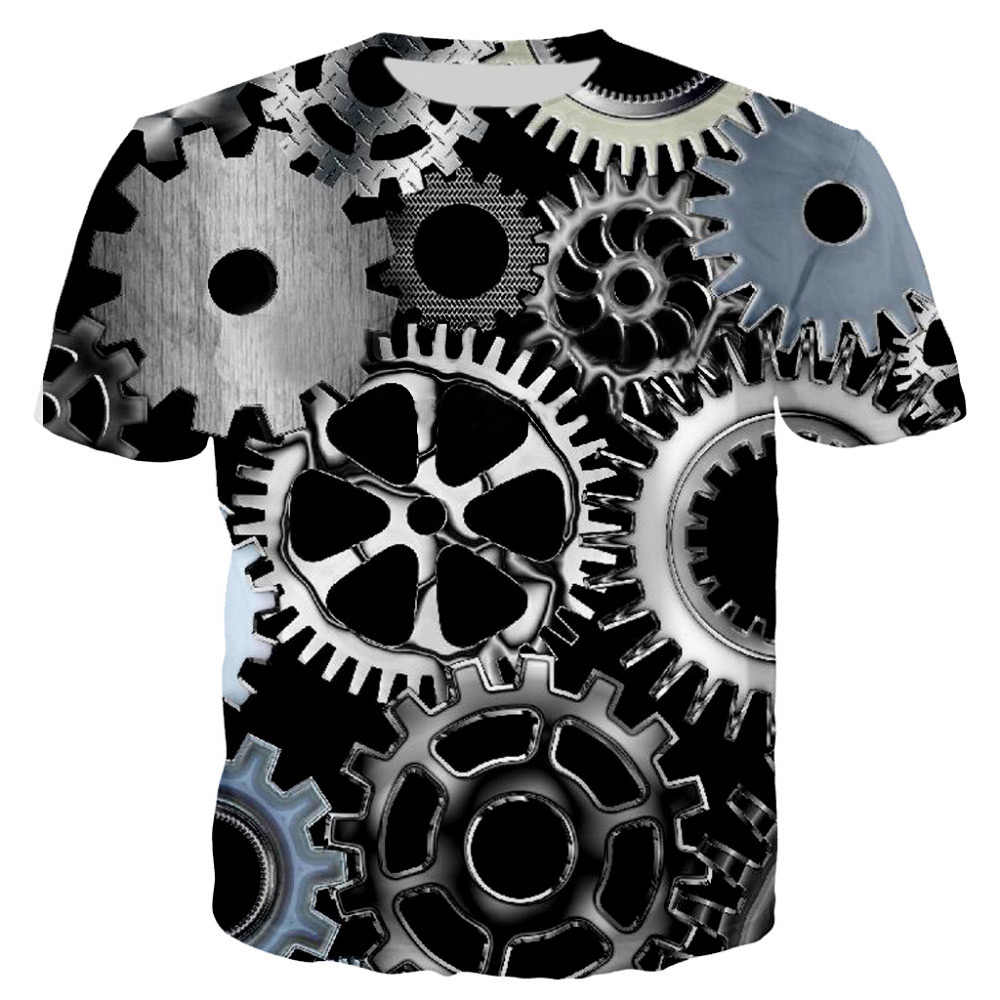 New Cool Mannen 3D T-shirts Machine Gear Printing Tees Tops O-hals Zomer Korte Mouw Casual t-shirt Auto Motor Machine t-shirts