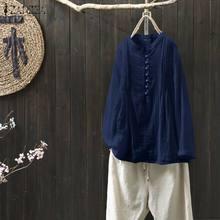 ZANZEA Women Tops Blouses Shirts 2020 Spring Cotton Solid Ca