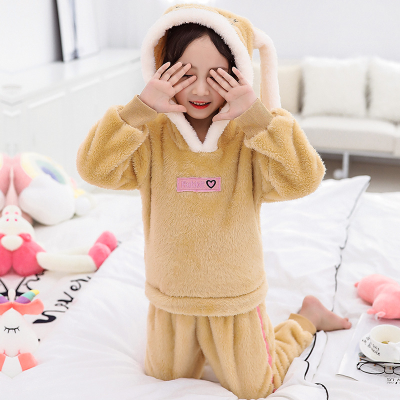 Micro For CHILDREN'S Pajamas Thick Winter New Style Men And Women Tracksuit Big Boy Double-Sided Long Velvet Thermal Suit