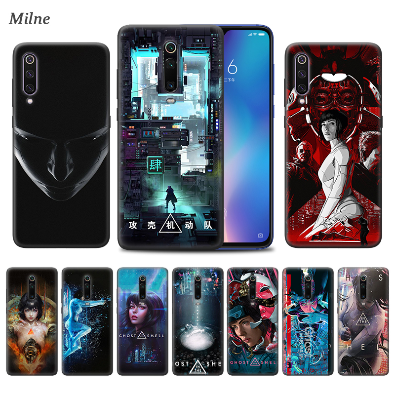 <font><b>Ghost</b></font> <font><b>in</b></font> <font><b>the</b></font> <font><b>Shell</b></font> <font><b>Case</b></font> for Xiaomi Redmi Note 9S 8 8T 7 7A K30 Zoom Mi 9T 10 9 Pro A3 X2 F2 Black TPU Phone Coque Carcasa image