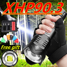 Super Bright XHP90.3 Led flashlight Ultra Bright torch Camping light waterproof Zoomable Bicycle Light with 18650 26650 battery