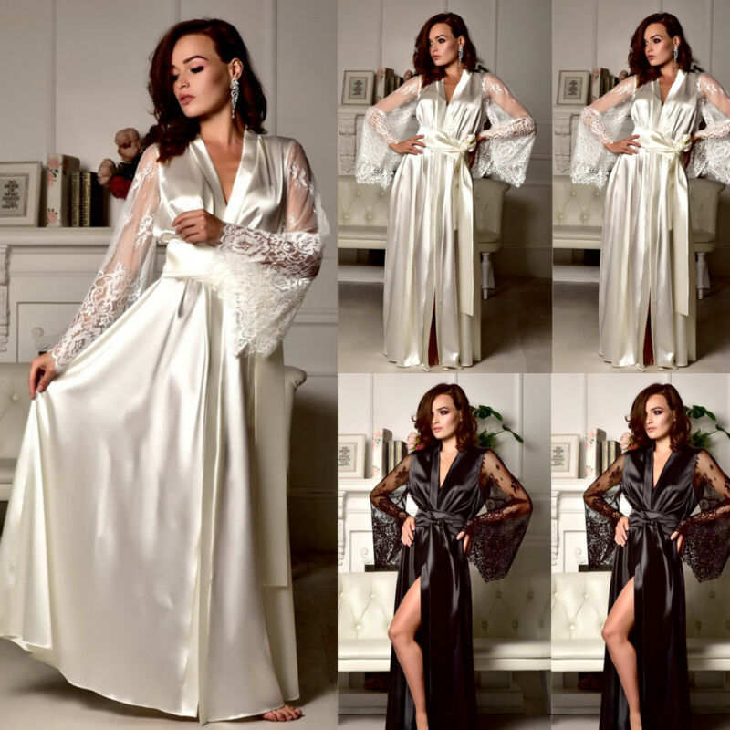 Women Sexy Sleepwear Nightgown Satin Silk Babydoll Lace Long Sleeve Robes Sleep Long Dress