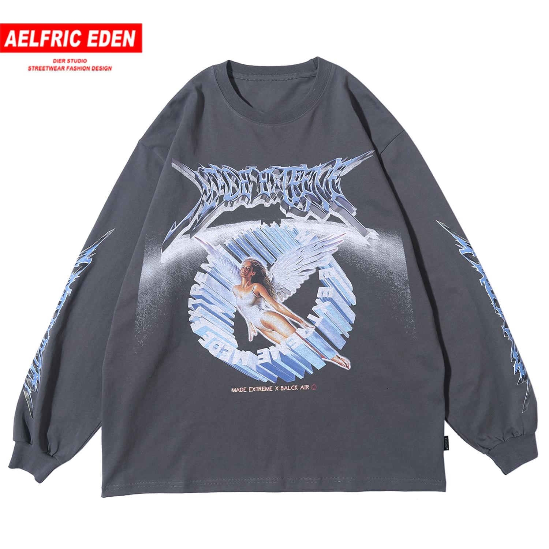 Aelfric Eden Vintage Angel Sweatshirt Mens 2020 Cotton Oversize Hip Hop Pullover Sweatshirt Men Harajuku Hoodie Long Sleeve Tops 3
