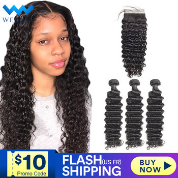Wet And Wavy Bundles With Closure 30 Inch Deep Wave Human Hair 3 4 Curly Extension Brazilian Water Weave Bundle With Hd Closure