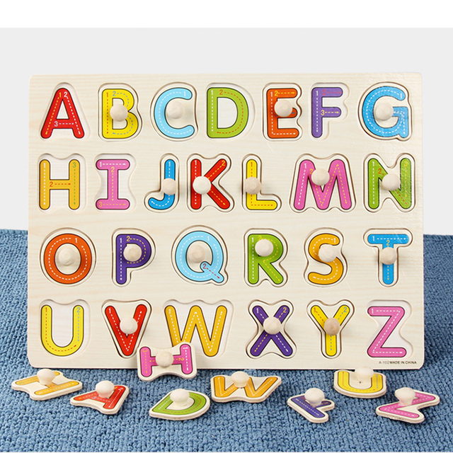 Baby Montessori Wood Jigsaw Puzzle 3d Alphabet Animals Kids Educational Toys Hand Grasp Wooden Puzzles for Children Toy Games 2