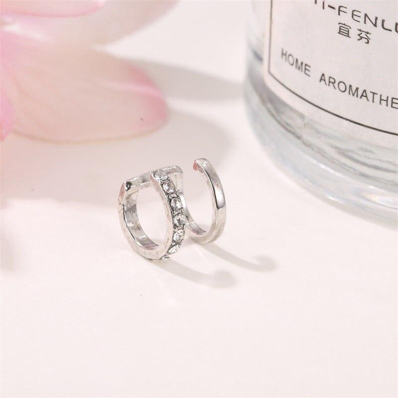 WUKALO Fashion Punk Rock Geometric Ear Cuff for Women Vintage Silver Color Unisex Cuff Clip Earrings Without Piercing Statement