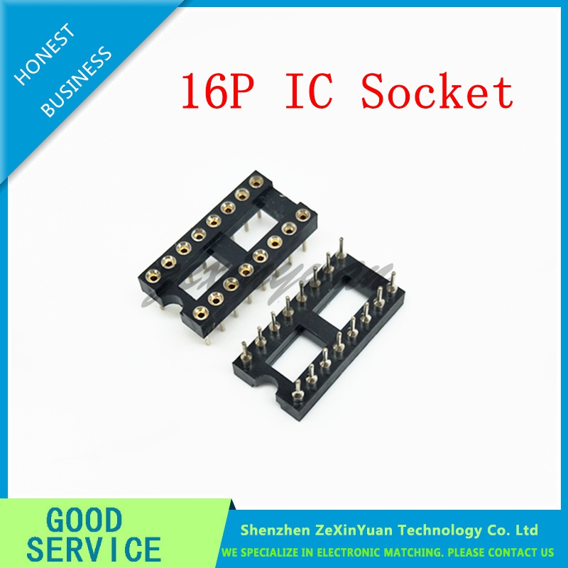 10pcs Round Hole 16 Pins 2.54MM DIP 2.54 DIP16 IC Sockets Adaptor Solder Type 16 PIN IC Connector