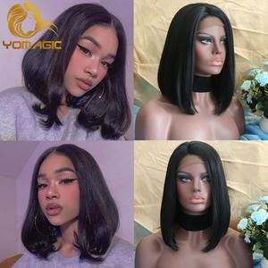 Yomagic Wigs Hair-Short-Bob Lace-Front Black-Color Pre-Plucked Straight with Baby-Hair