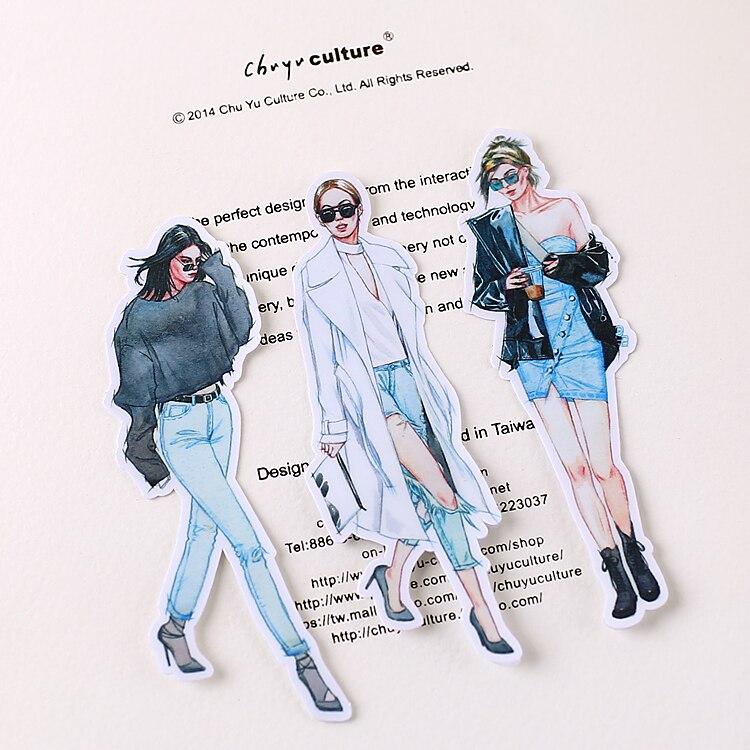 20PCS Fashion Girl Mini Paper Stickers Crafts And Scrapbooking Stickers Book Decorative Sticker DIY Stationery