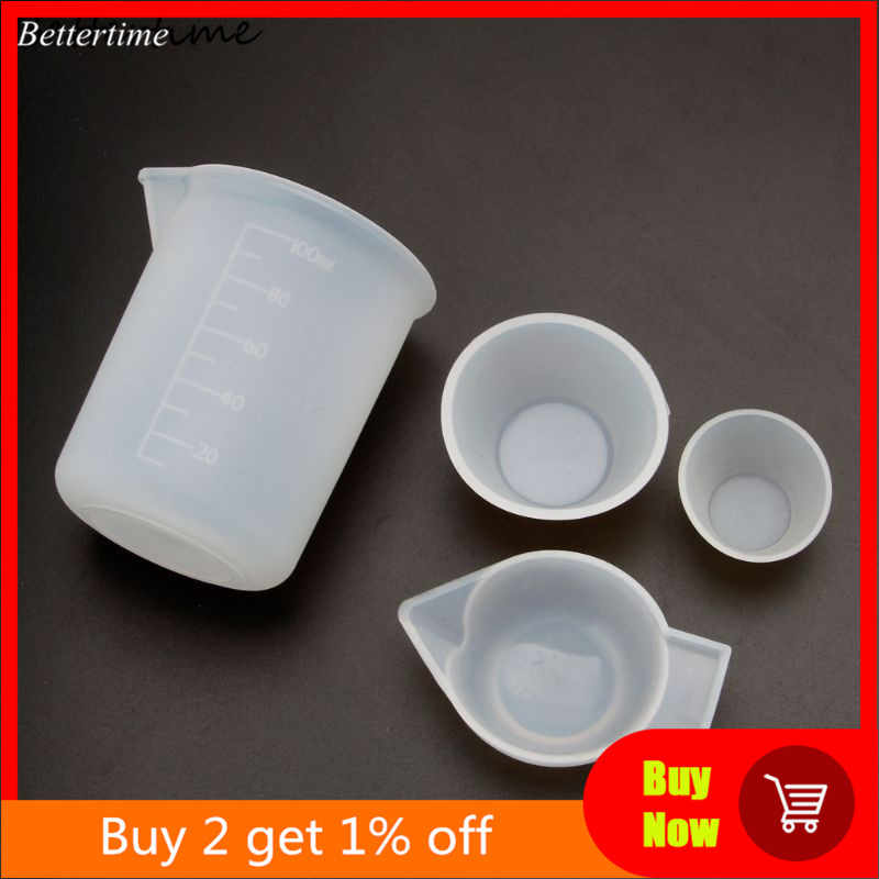 4Pcs Silikon Pencampuran Cangkir Gelas Ukur 100Ml 10Ml DIY Resin Perhiasan Alat Kit