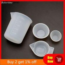 4 pçs silicone mistura copos de medição copos 100ml 10ml diy resina jóias ferramentas kit