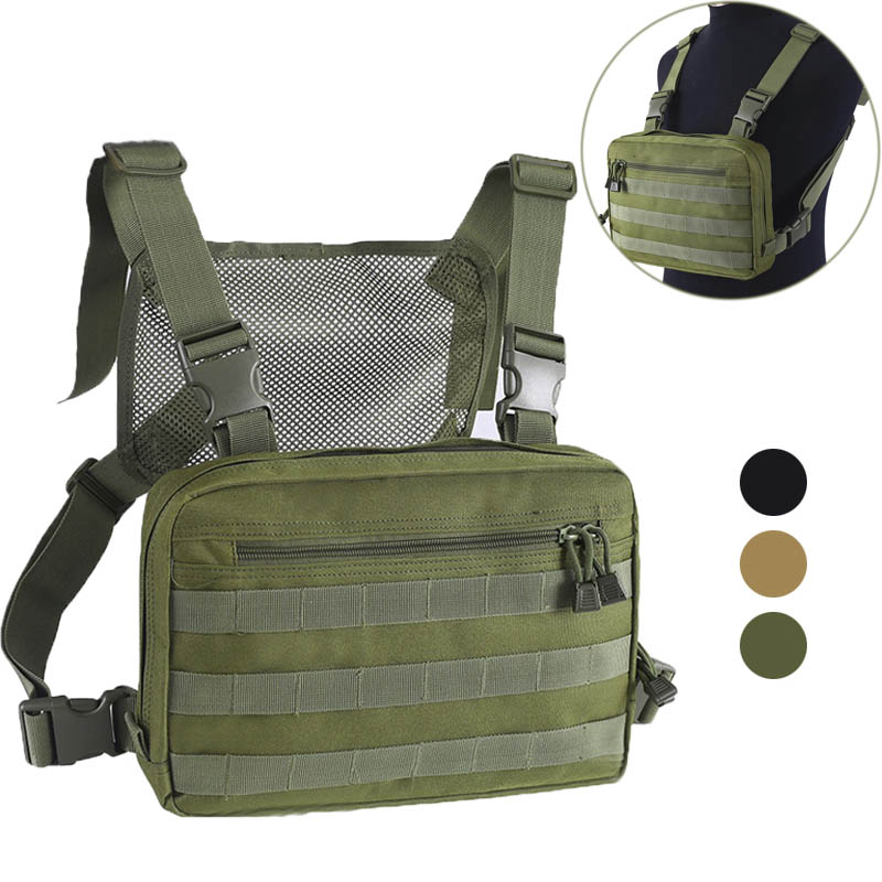 Mesh Outdoor Hunting Military Combat Bags Tactical Chest Bag Hip Hop Streetwear Pouch Molle Front Pack Vest Backpack Breathable