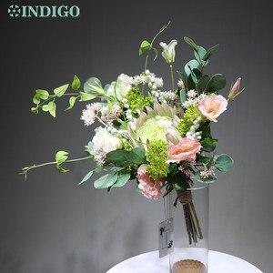 Image 2 - النيلي الضوء الأرجواني Protea Cynaroides باقة زهرة اصطناعية الزفاف العروس اليد باقة أزهار حفلة الحدث شحن مجاني