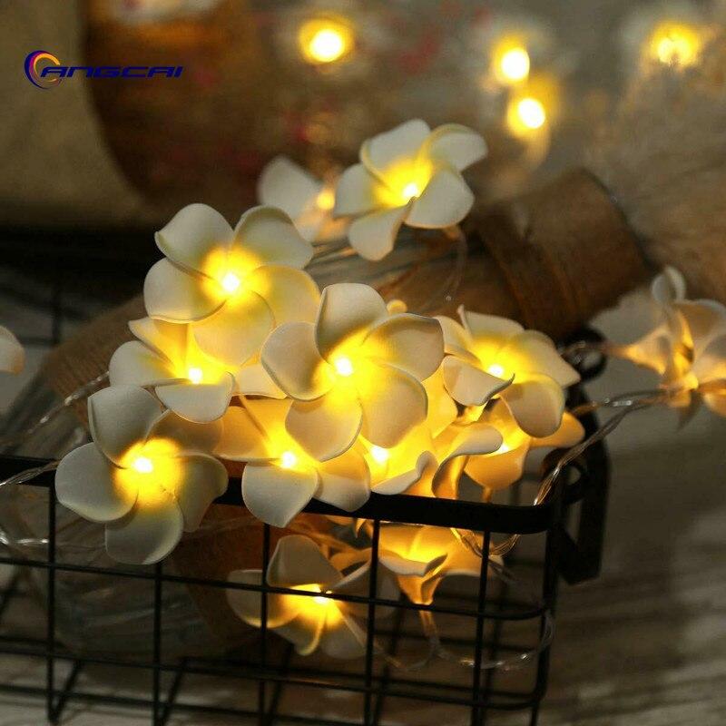 Flowers Frangipani LED String Light Hawaiian Foam Artificial Plumeria Flower Fairy Starry Lights For Wedding  Valentine's Day