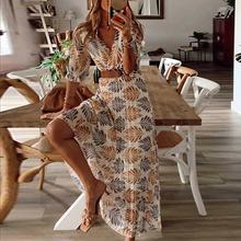 Женское пляжное платье с коротким рукавом, повседневное свободное платье с высокой талией и принтом в богемном стиле, женская одежда, женск...