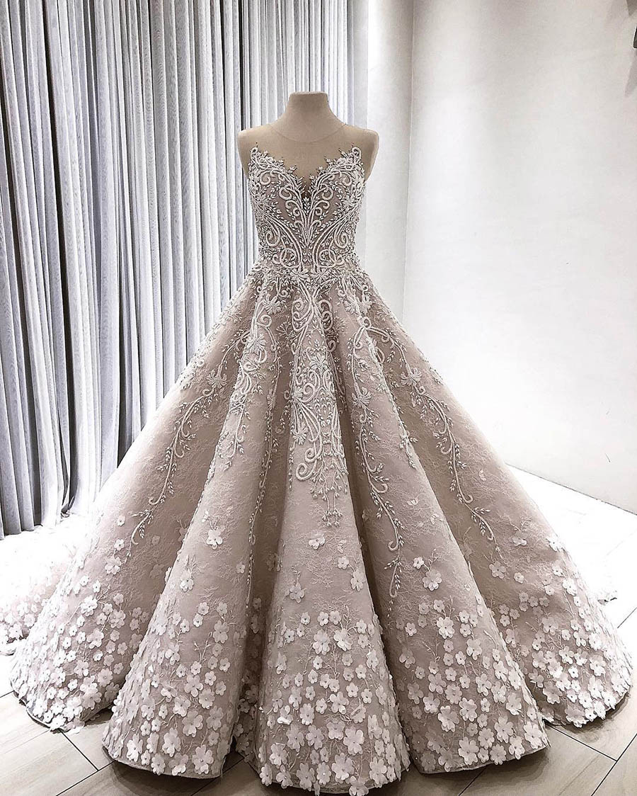 Bridal-Gowns Beaded Wedding-Dresses Flower Dubai Royal Luxury Illusion-Neck Lace Lebanon title=