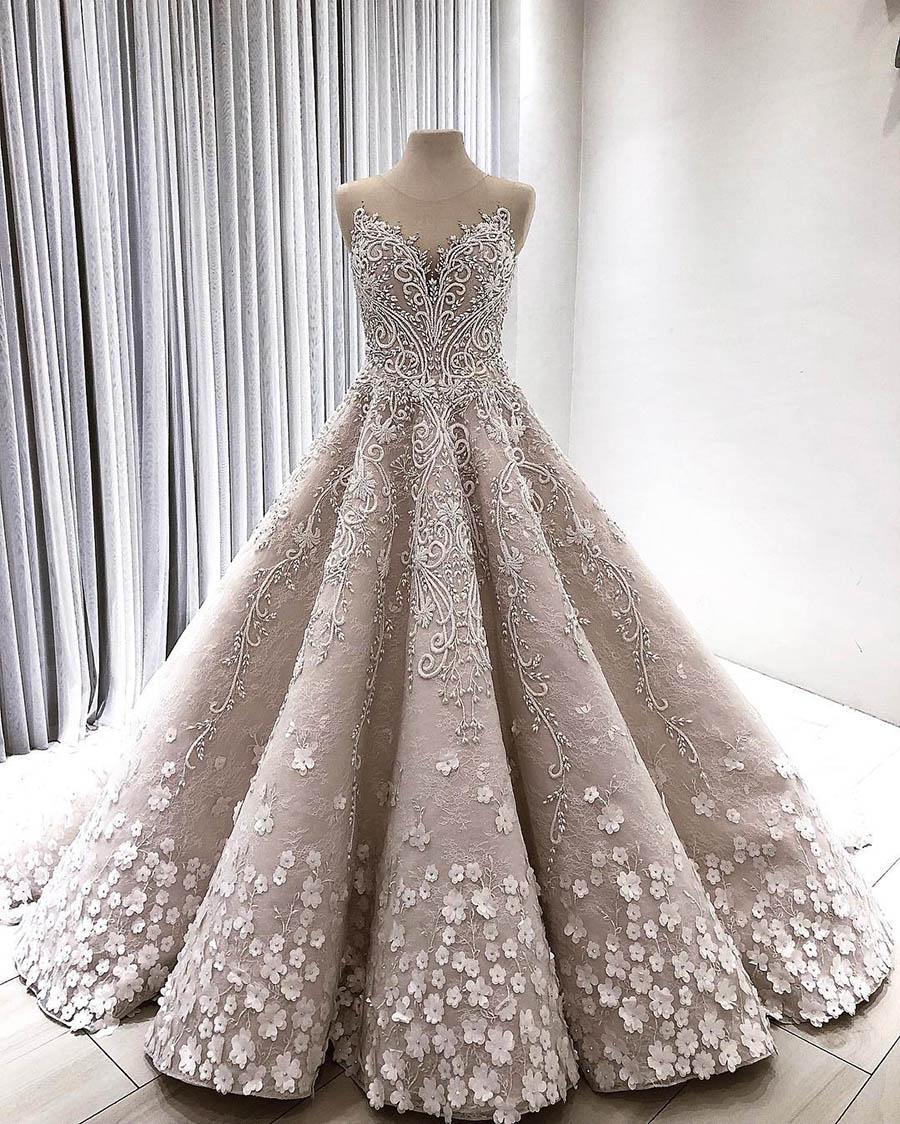 Lebanon Luxury 3D Flower Wedding Dresses Lace Beaded Dubai Royal Bridal Gowns Illusion Neck Vestidos De NoviaWedding Dresses   -