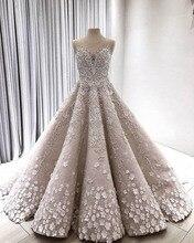 Lebanon Luxury 3D Flower Wedding Dresses Lace Beaded Dubai Royal Bridal Gowns Illusion Neck Vestidos De Novia