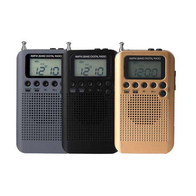 Mini Radio Speaker Receiver LCD Digital FM / AM Radio Speaker with Time Display Function 3.5mm Headphone Jack