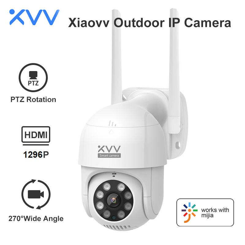 Xiaovv Smart P1 Outdoor Camera 2K 1296P 270° PTZ Rotate Wifi Webcam Humanoid Detect Waterproof Security Cameras Work For Mi Home