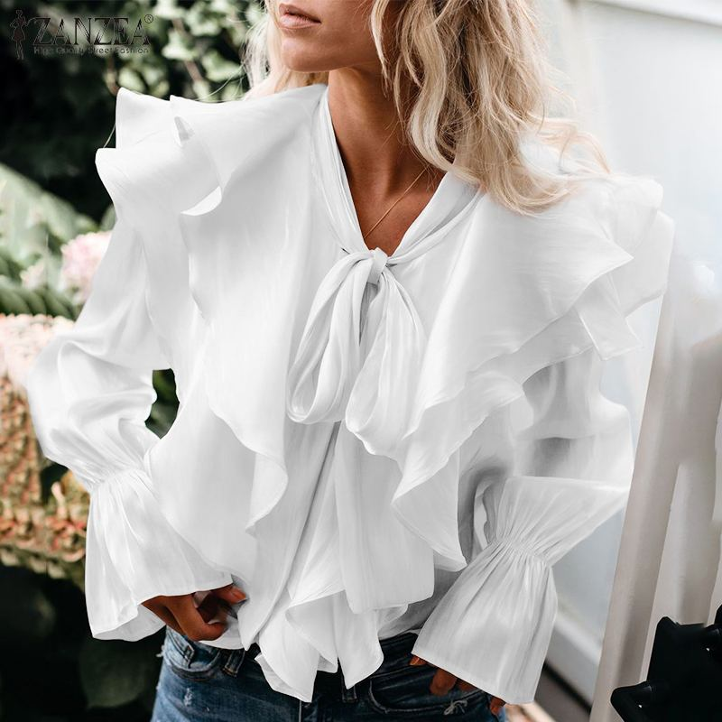 Women Stylish Ruffles Blouse ZANZEA Casual Long Flare Sleeve Solid Shirt Elegant Lace Up Flounce Blusa Femininas Party Top Mujer