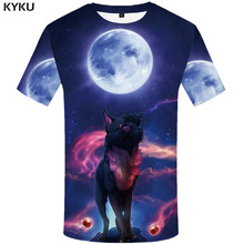 KYKU Wolf T-shirt Men Animal T shirts Galaxy 3d shirt Printed Tshirt Moon Flame Shirt Casual Mens Clothing summer Short Sleeve