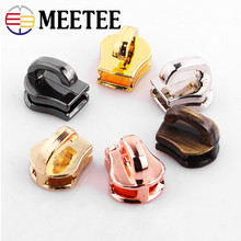 Meetee 10pcs Auto Lock Zipper Sliders for Metal Zippers Handbags Purse Head DIY Clothing Sewing Accessories F2-16