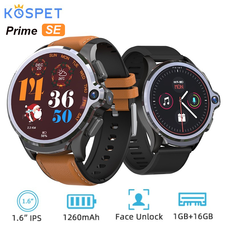 KOSPET Prime SE 4G Smart Watch Phone 1.6 inch 1260mAh Battery Face ID 1G RAM 16G ROM Face ID Android Smartwatch Dual Camera GPS