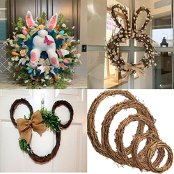 8-50cm DIY Hanging Wreath Rattan Bamboo Wreath Door Hanging Craft Party Decoration Thanksgiving Easter Wedding Christmas Wreaths
