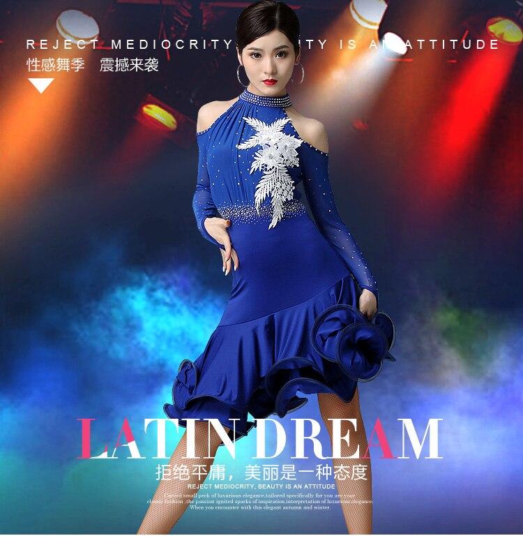 Необычное платье для латинских танцев для выступлений, женское сексуальное платье с длинными рукавами, стразы, платья с принтом, женская одежда для бальных танцев DL4711