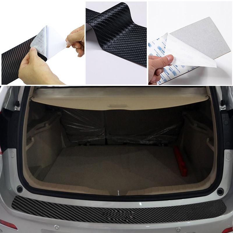 Araba arka tampon gövde kuyruk dudak PU çıkartmalar karbon Fiber koruma Sticker