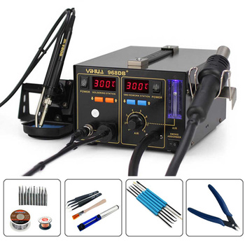 YIHUA 968DB+ 3 in 1 With The Function Of Smoking Heat Gun Soldering Station Digital Display Temperature Control Rework Station
