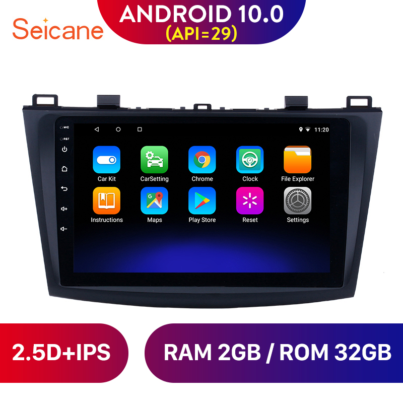 Seicane 9 inch Android 10.0 Car <font><b>GPS</b></font> for 2009 2010 2011 2012 <font><b>MAZDA</b></font> <font><b>3</b></font> <font><b>Navigation</b></font> Radio Stereo Unit Player support DVR OBD 3G image