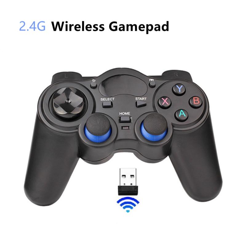 2,4G juego inalámbrico controlador Joystick Gamepad con Micro USB adaptador conversor OTG para caja de TV Android para PC PS3|Mandos para videojuegos|   -