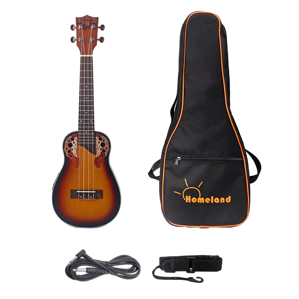 Exquisite Spruce Wood 23inch Ukulele EQ Equalizer 4 String Guitar Uke With Gig Bag Strap 6.35mm Cable
