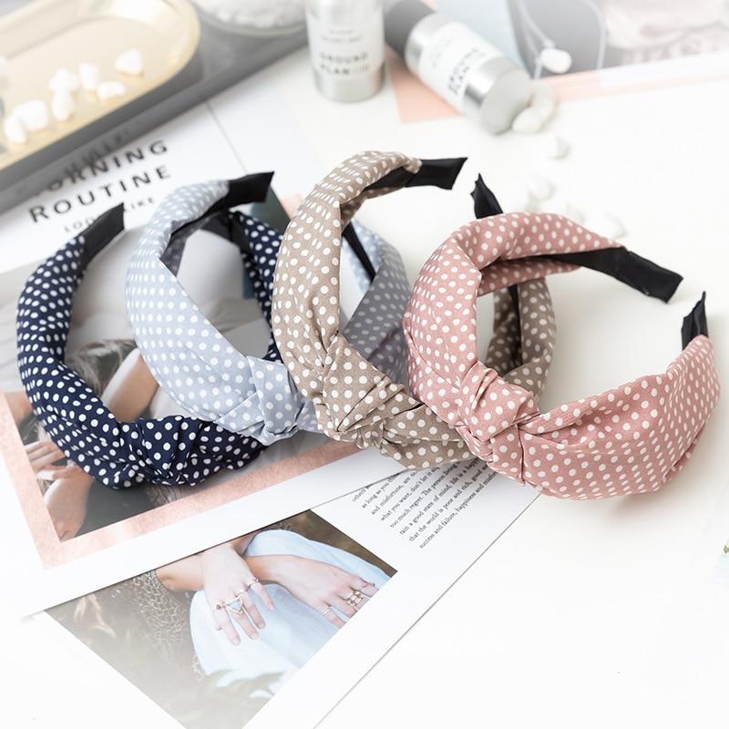 Купить повязка для волос в горошек женская однотонный эластичный простой