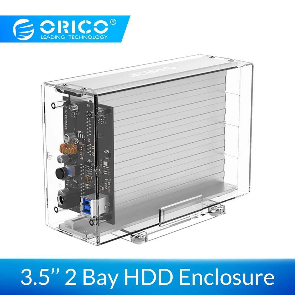 ORICO 3.5 Inch 2 Bay Hard Drive Enclosure Transparent SATA To USB3.0 Type-B HDD Box Case With Holder 12V3A Power Adapter