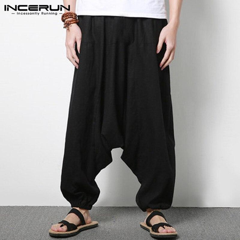 INCERUN Men Harem Pants  Cotton Streetwear Joggers Solid Color Pants Nepal Drop-crotch Trousers Men Loose Long Pants Plus Size
