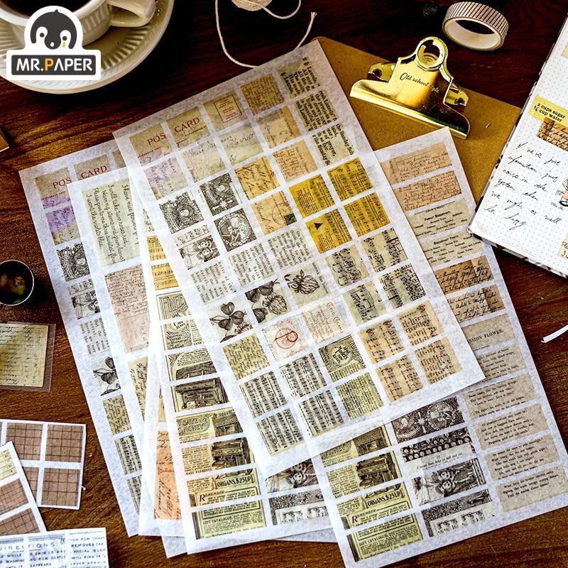 Mr.paper 4 Designs 6pcs Deco Europe Medieval Stickers Scrapbooking Bullet Journal Suitcase Label Popular Doodling Stationery