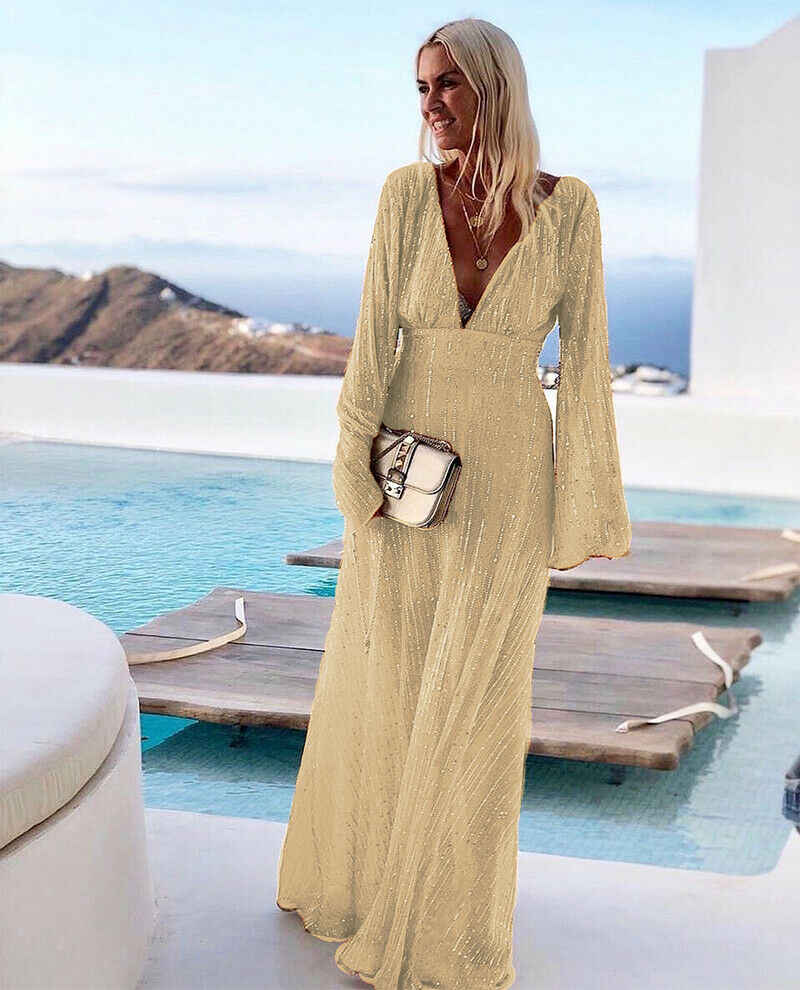 hot abend party elegante lange kleid pailletten bingling frauen sommer  vintage vestido maxi kleid v-ausschnitt langarm retro sommerkleid