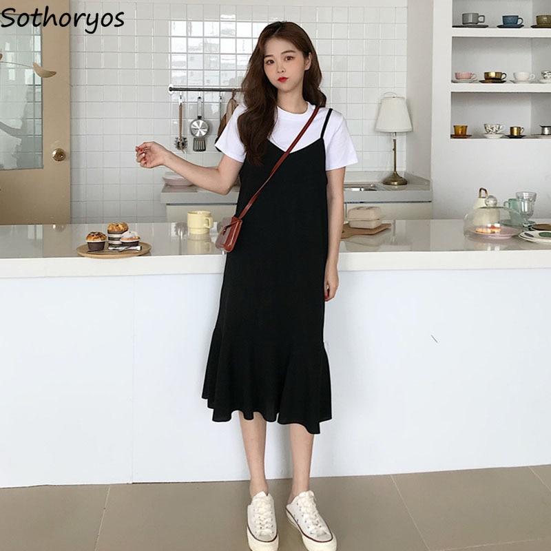 Dress Women Black Solid Sleeveless Breathable New Fashion Elegant Womens Mid-calf Korean Style Mermaid Casual Slim Fit Hot Sale