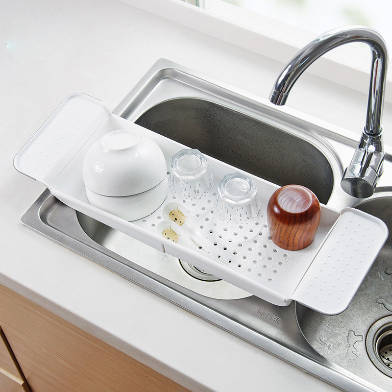 Plastic Kitchen Sink Drain Basket Shelf Retractable Drain Basket Bowls And Chopsticks & Vegetable Storage Drain Basket