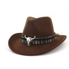 Chapéu de cowboy, chapéu da moda para homens e mulheres, chapéu de cowboy com cabeça de vaca, aba larga, chapéu de lã pop jazz, tamanho de inverno 56-58cm