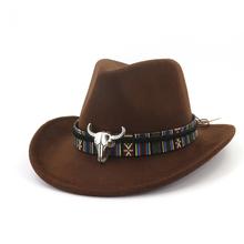 Moda mężczyzna kobiet zachodniej kowbojski kapelusz z skóra bydlęca opaska na głowę szeroki kapelusz Pop jazzowy kapelusz zimowa wełniana czapka rozmiar 56-58CM tanie tanio HXGAZXJQ Poliester Z wełny Dla dorosłych Unisex Na co dzień LILIY121-6H Stałe 56-58CM adjused size 12CM Wind rope Cowboy hat